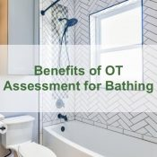 Bathroom with text overlay 'Benefits of OT Assessment for Bathing'